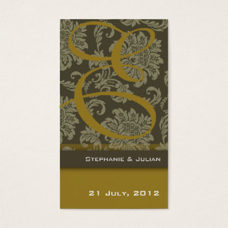 Gold Damask Wedding Website Business Card