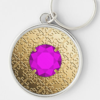 Gold Damask with a faux amethyst gemstone Silver-Colored Round Keychain