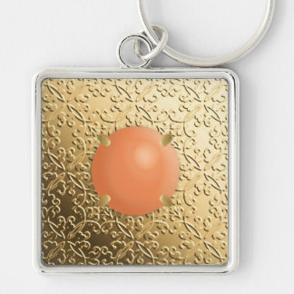 Gold Damask with a faux coral gemstone Keychain