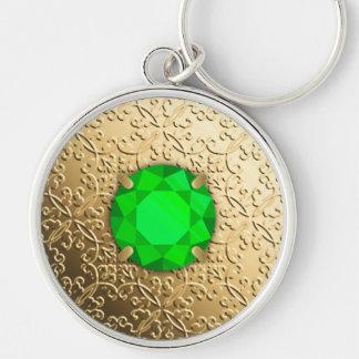 Gold Damask with a faux emerald gemstone Keychain