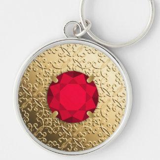 Gold Damask with a faux garnet gemstone Keychain