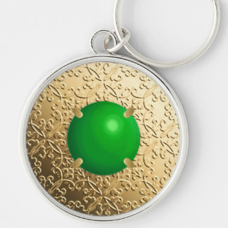 Gold Damask with a faux jade gemstone Keychain