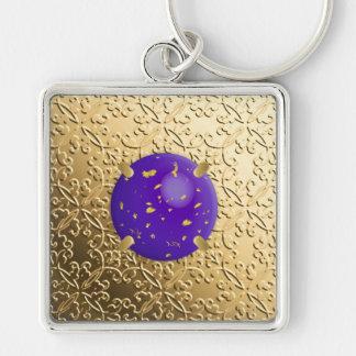 Gold Damask with a faux lapis lazuli gemstone Keychain