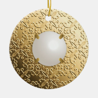 Gold Damask with a faux mabe pearl Ceramic Ornament