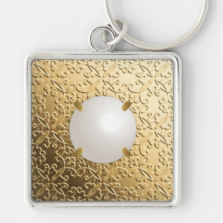 Gold Damask with a faux mabe pearl Keychain