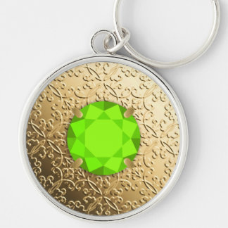 Gold Damask with a faux peridot gemstone Keychain
