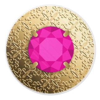 Gold Damask with a faux pink tourmaline gem Ceramic Knob