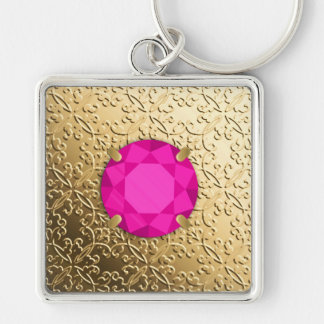 Gold Damask with a faux pink tourmaline gem Keychain