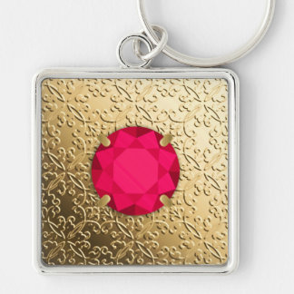 Gold Damask with a faux ruby gemstone Keychain