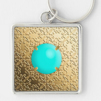 Gold Damask with a faux turquoise gemstone Keychain