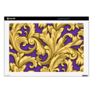 """Gold Damask with Any Color Background 17"""" Laptop Decals"""