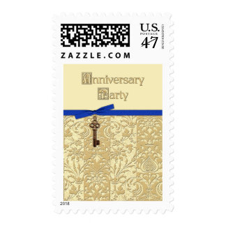 Gold Damask with Key Charm and Bow Anniversary Par Postage Stamp
