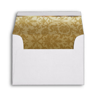 Gold Damask with White Satin Design Envelope