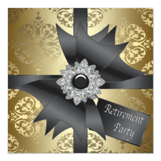 Gold Damask Womans Retirement Party Card