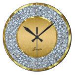 Gold Damasks & Sparkling Diamonds Glitter-Monogram Wall Clocks
