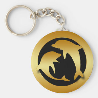 GOLD DANCING DOLPHINS KEY CHAIN