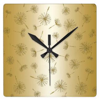 Gold Dandelion Metallic Flowers Square Wall Clock