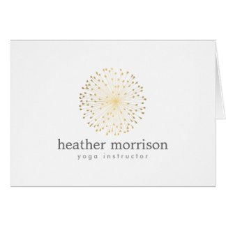 GOLD DANDELION STARBURST LOGO on WHITE Card