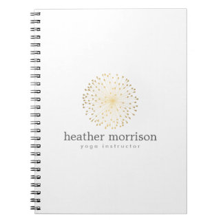 GOLD DANDELION STARBURST LOGO on WHITE Notebook