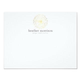 GOLD DANDELION STARBURST LOGO on WHITE Notecard 4.25x5.5 Paper Invitation Card