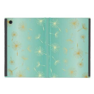 Gold Dandelions Mint Green Metallic Seeds Fade Cases For iPad Mini