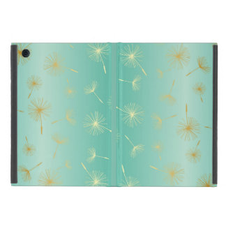 Gold Dandelions Mint Green Metallic Seeds Fade Cover For iPad Mini