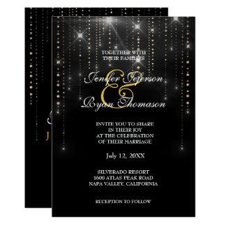 Gold dangle confetti wedding Invitation