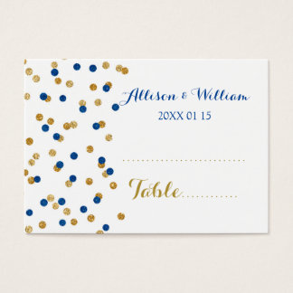 Gold Dark Blue Confetti Table Place Setting Cards