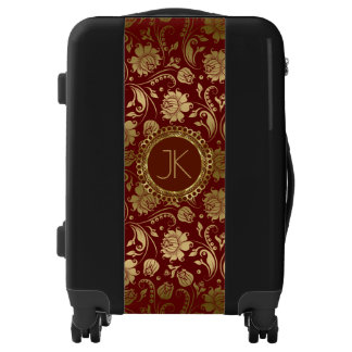 Gold & Dark Burgundy Red Damasks Luggage