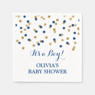 Gold Dark Navy Blue Confetti Baby Shower Napkin