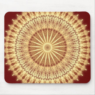 Gold Dark Red Mandala Mouse Pad