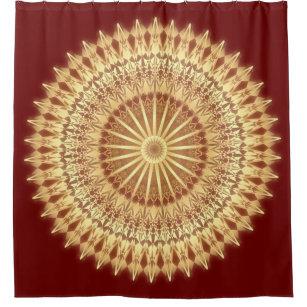 Gold Dark Red Mandala Shower Curtain