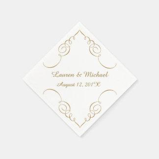 Gold Dark Swirl Border Personalized Wedding Disposable Napkin