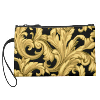 Gold Dazzling Damask with Any Color Background Wristlet Purses