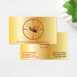 Gold Dead Roach Pest Service 2 Sided Business Card