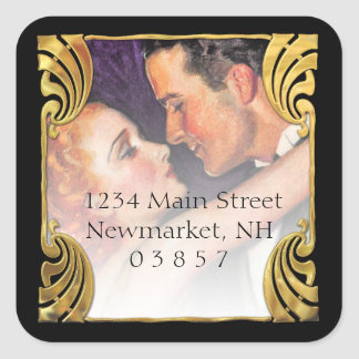 Gold Deco Vintage Hollywood Glamour Couple Square Sticker
