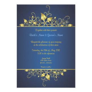 Gold & Deep Blue Elegant Wedding Invite - 1