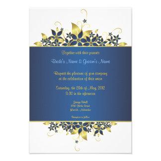 Gold & Deep Blue Elegant Wedding Invite - 2