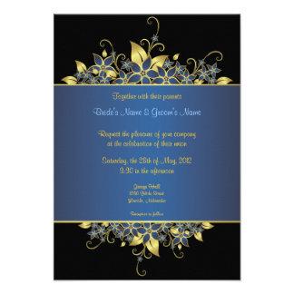Gold & Deep Blue Elegant Wedding Invite - 3