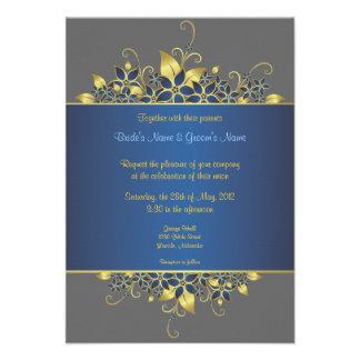 Gold & Deep Blue Elegant Wedding Invite -5