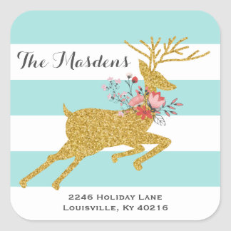 Gold Deer and Stripes Personalized Address Labels Square Sticker