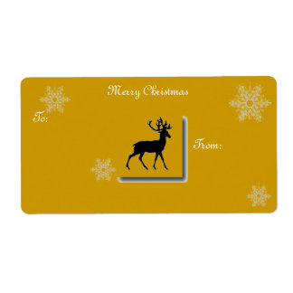gold deer christmas label