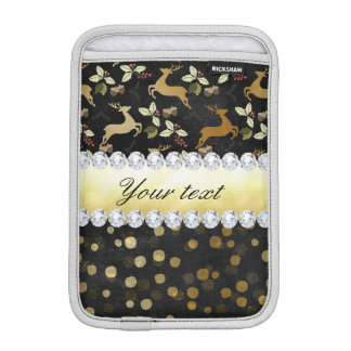 Gold Deer Confetti Diamonds Chalkboard iPad Mini Sleeve