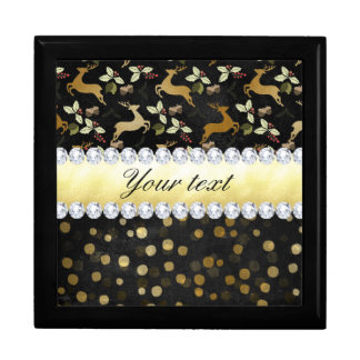 Gold Deer Confetti Diamonds Chalkboard Jewelry Box