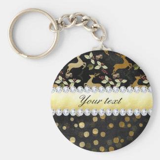 Gold Deer Confetti Diamonds Chalkboard Keychain