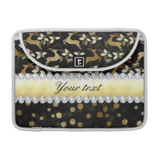 Gold Deer Confetti Diamonds Chalkboard MacBook Pro Sleeve