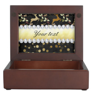 Gold Deer Confetti Diamonds Chalkboard Memory Box