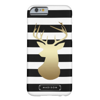 Gold Deer Head Black & White Stripes Personalized Barely There iPhone 6 Case