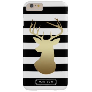 Gold Deer Head Black & White Stripes Personalized Barely There iPhone 6 Plus Case