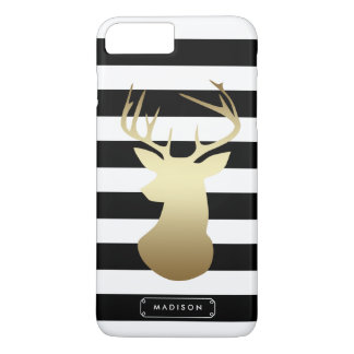 Gold Deer Head Black & White Stripes Personalized iPhone 7 Plus Case